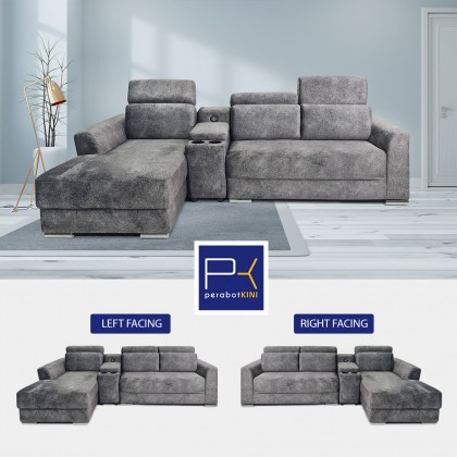 L Shape Sofa Armrest Storage with USB Port | Micro Velvet Fabric | Ready Stock (Delivery by Own Logistic)